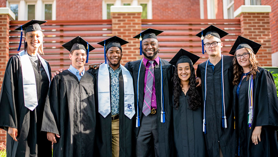 students in cap and gown for Commencement | Office of Diversity and Inclusion Presbyterian College