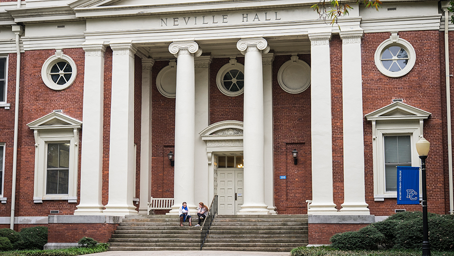 Girls sitting on the steps outside Neville Hall | Traditions & Mission at Presbyterian College